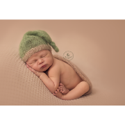 Green and beige mohair hat with knot