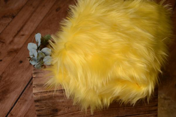 Yellow long hair blanket