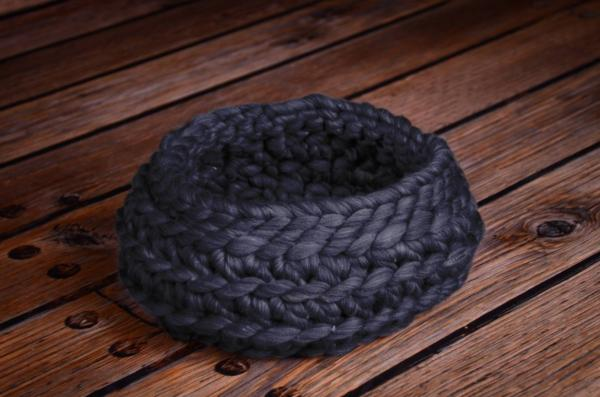 Dark purple plaited wool basket