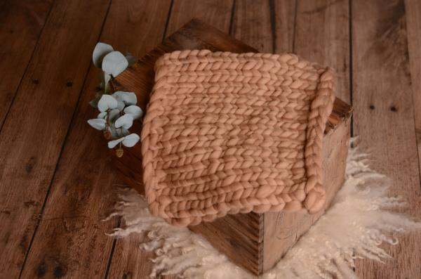 Light camel small plaited blanket