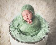 Green mohair wrap and hat set