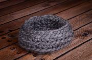 Grey wool basket