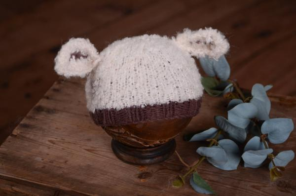 Beige and brown sheep ears hat
