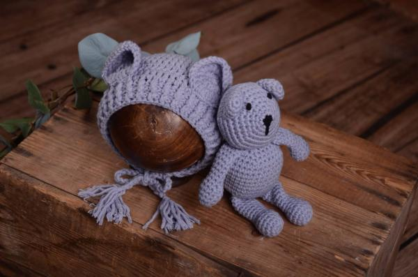 Bluish grey teddy bear and hat set
