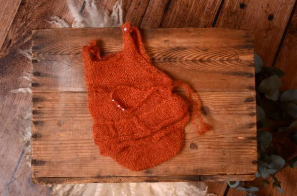 Dark orange ruffled mohair bodysuit and headband