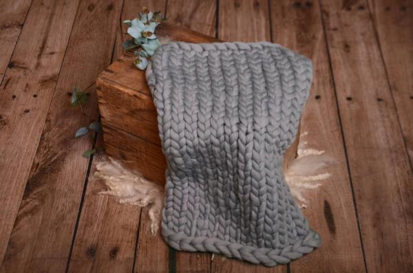 Grey plaited blanket