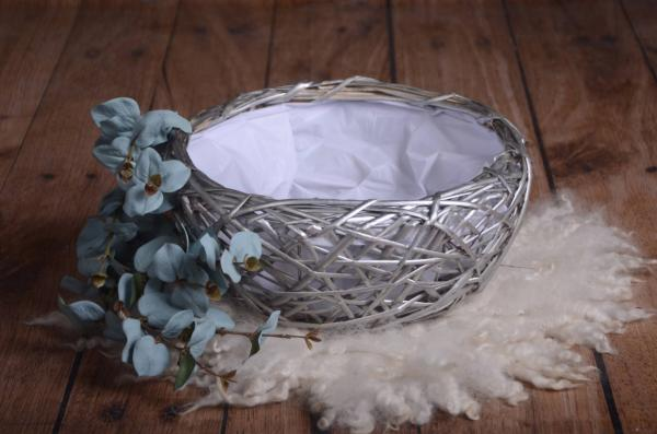 Silver round rustic nest 39 cm