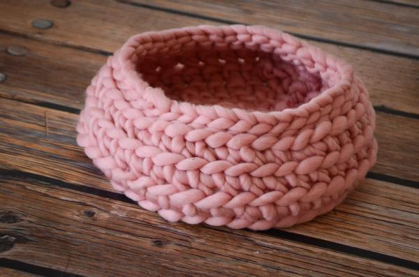 Pink plaited wool basket