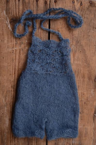 Dark blue short mohair dungaree