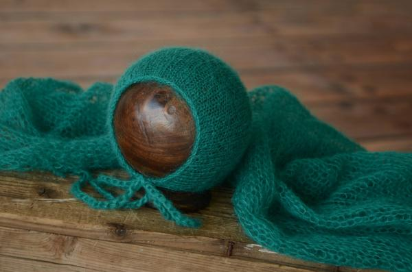 Greenish blue mohair wrap and hat set