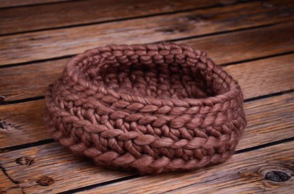 Brown plaited wool basket