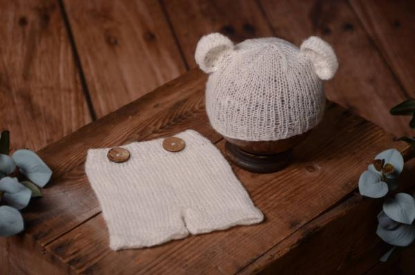 White mohair set with ears