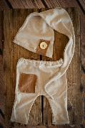 Beige and brown stitch hat and pants set