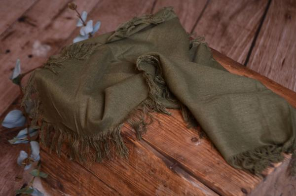Olive green fringed little fabric