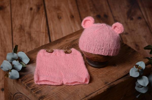 Pink mohair set with ears