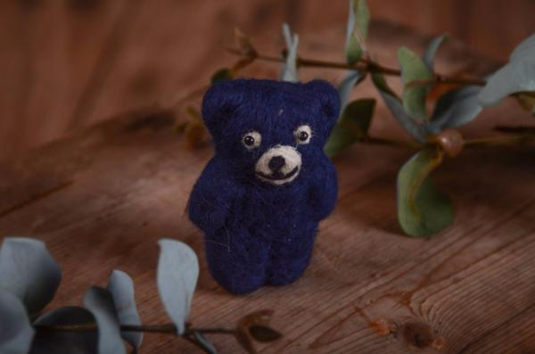 Dark blue little bear toy 9 cm