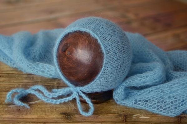 Blue mohair wrap and hat set