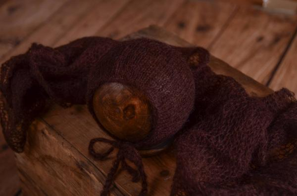 Dark brown mohair wrap and hat set
