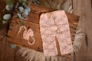 Light pink pants and headband lace set