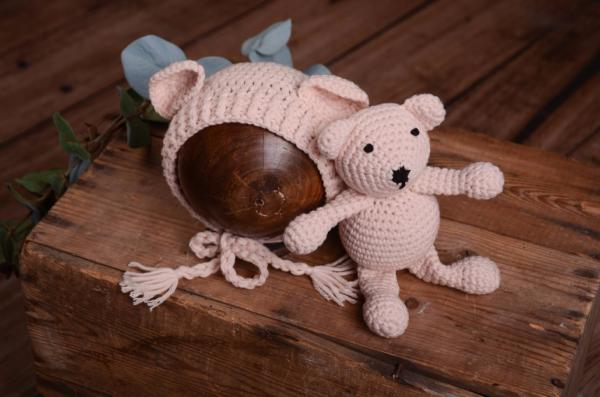 Beige teddy bear and hat set