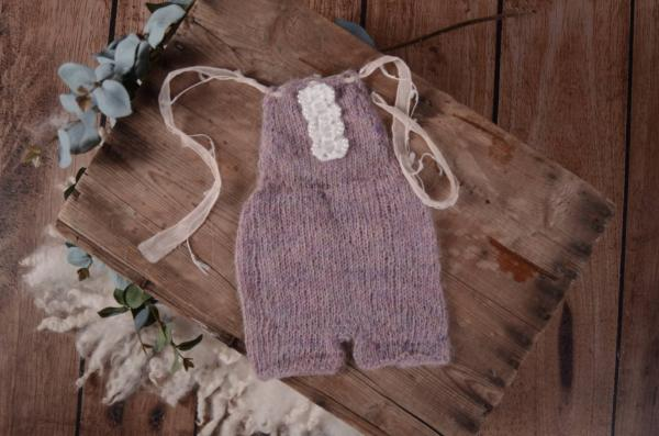 Dark lavender mohair short dungaree with bow and pearls