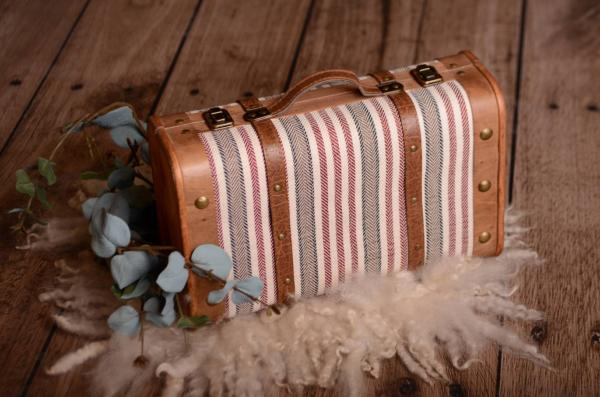 Red striped rustic suitcase 37 cm
