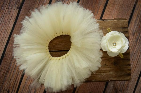 Off-white tulle tutu and flower headband set