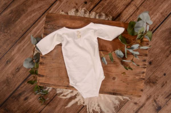 White stitch bodysuit with long sleeves