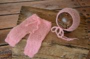 Pink adapted mohair pants and hat set