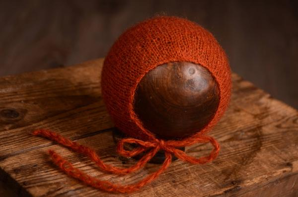 Dark orange mohair hat