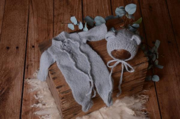 Light blue mohair hat and pyjama