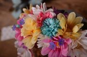 Multi-coloured flower bonnet