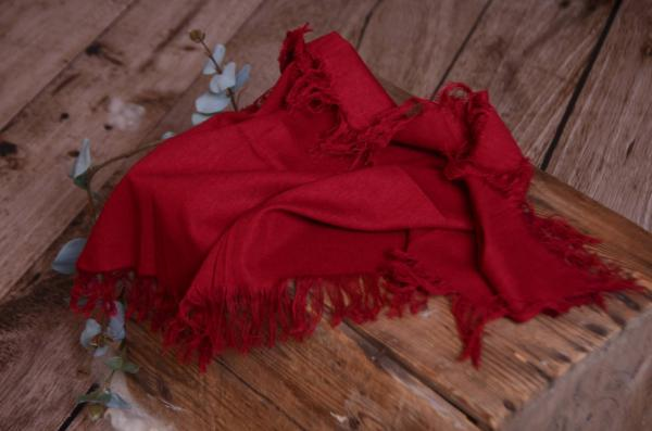 Burgundy red fringed little fabric