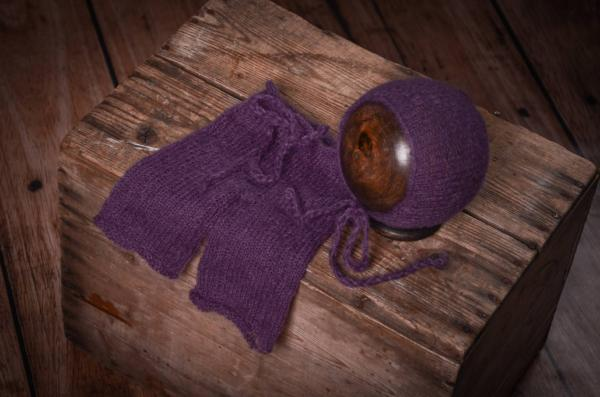 Violet mohair pants and hat set