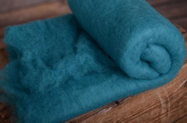 Dark greenish blue natural wool blanket