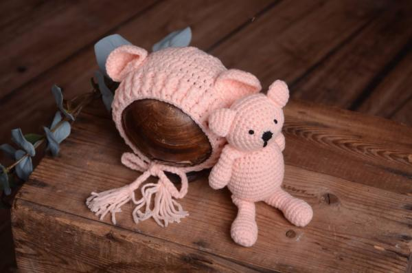 Light pink teddy bear and hat set