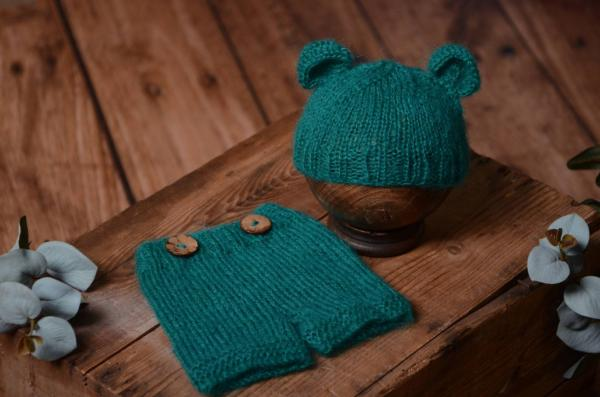 Dark bluish green mohair set with ears