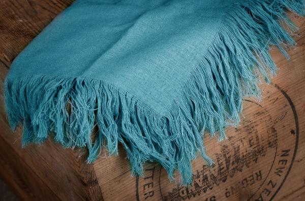 Turquoise blue fringed little fabric
