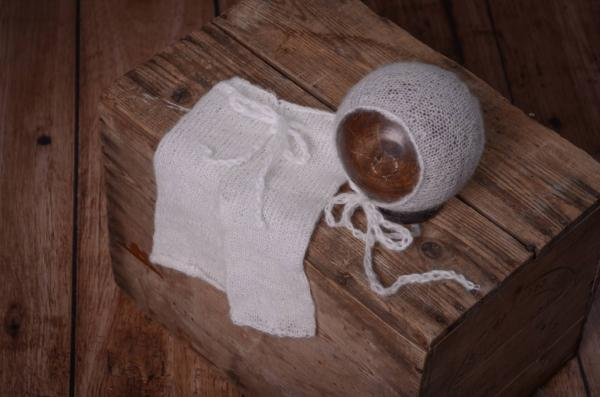 White mohair pants and hat set