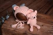 Light pink bear and hat set