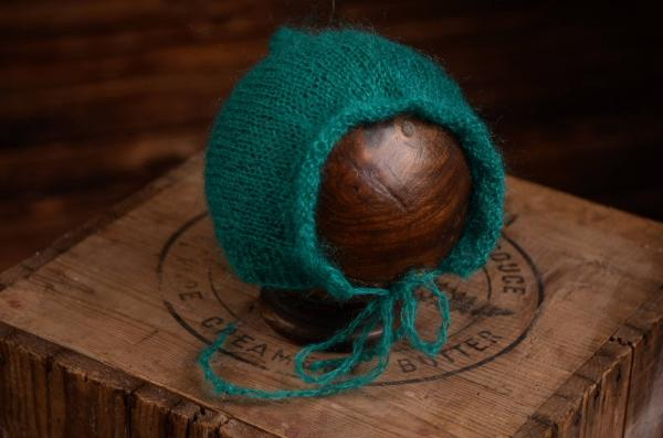 Greenish blue adjustable mohair hat