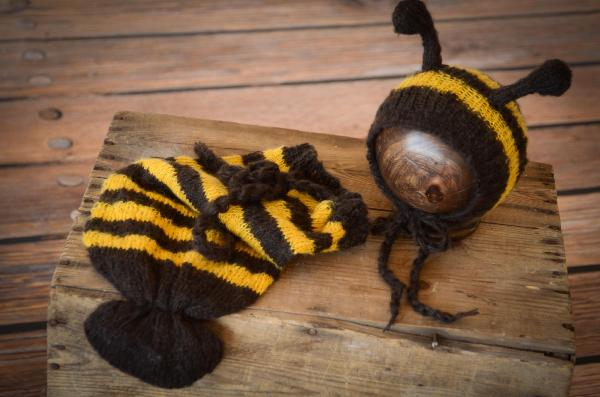 Yellow and black bag bee costume