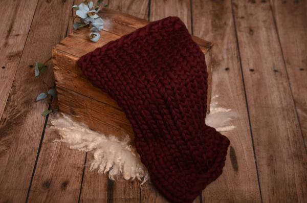 Burgundy plaited blanket