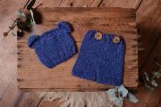 Navy blue mohair set with ears