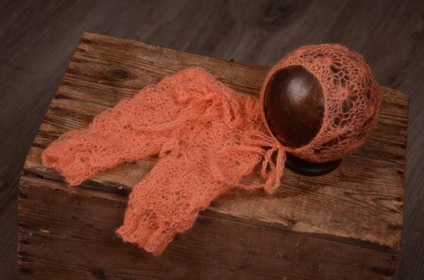 Orange perforated mohair hat and pants set